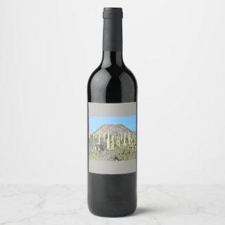 "Custom Wine Label ""Tontos Saguaros in Cartoon"""