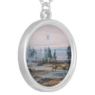 Custom Winter Snowfall trees reindeer joy holidays Silver Plated Necklace