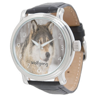 Custom wolf face head in a winter forest add name watch