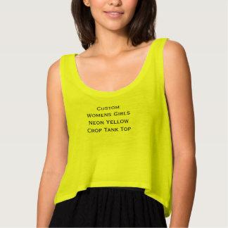 Custom Womens Girls Fun Neon Yellow Crop Tank Top