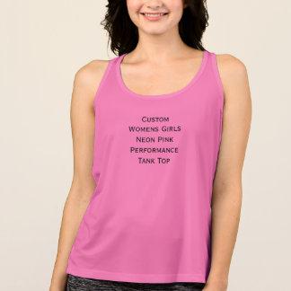 Custom Womens Girls Neon Pink Performance TankTop Singlet