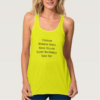 Custom Womens Girls Neon Yellow Racerback Tank Top