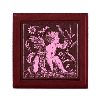 Custom Wooden Gift Box Pink Cupid on Ceramic Tile