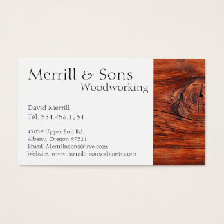 Custom Woodworking Cabinets Business Card