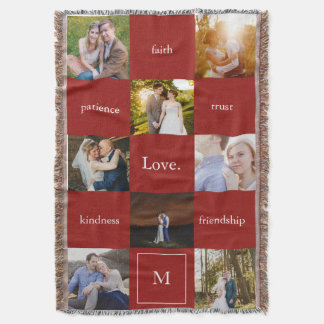 Custom Words and Photos Meaningful Gift Red Throw Blanket