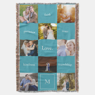 Custom Words Photos Meaningful Gift Blanket Blue