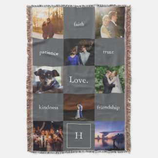 Custom Words & Photos Meaningful Gift Blanket Gray