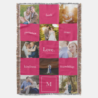 Custom Words Photos Meaningful Gift Blanket Pink