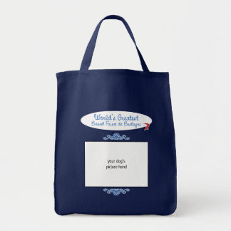 Custom Worlds Greatest Basset Fauve de Bretagne Grocery Tote Bag