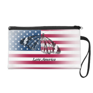 Custom wristlet with American flag and butterfly