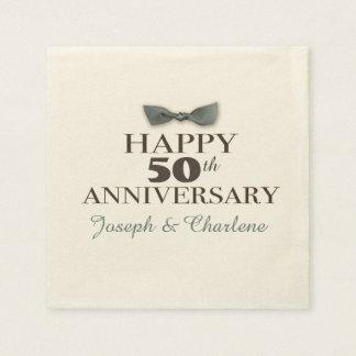 Custom Year   Antique Happy Anniversary Slate/Brn Paper Serviettes