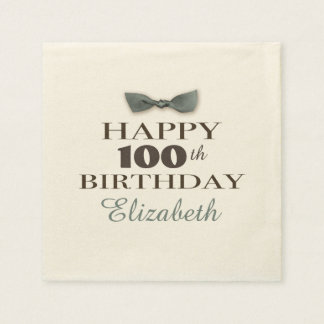 Custom Year | Antique Happy Birthday Brown/Slate Disposable Napkins