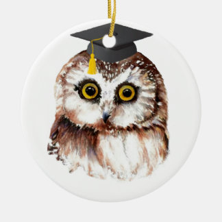 Custom Year Graduation Fun Wise Owl Round Ceramic Decoration