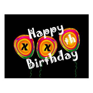 Custom Year - Happy Birthday - Colorful Balloons Postcard