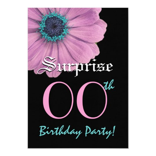 Custom Year SURPRISE Birthday Template Pink Daisy Card