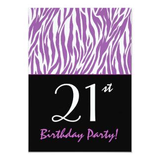 Custom Year Trendy Zebra Stripes Purple and White Personalized Invitation