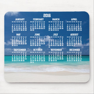 Custom Yearly Calendar 2016 Mouse Pad Beach