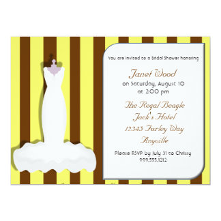 Custom Yellow and Brown Bridal Shower Invitations