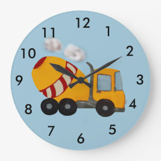Custom yellow and red concrete mixer large clock