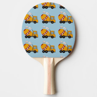 Custom yellow and red concrete mixer ping pong paddle