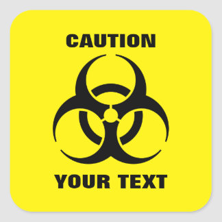 Custom Yellow Biohazard Symbol Warning Sign Square Sticker
