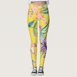 Custom Yellow Botanical Leggings