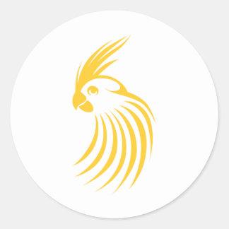 Custom Yellow Cockatiel Logo Classic Round Sticker
