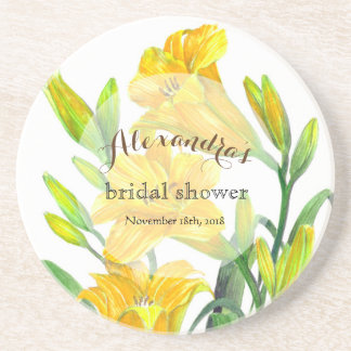 Custom Yellow Day Lilies Bridal Showers Coaster