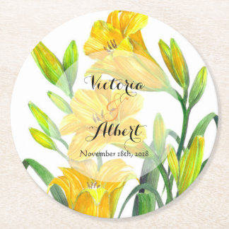 Custom Yellow Day Lilies Wedding Coaster