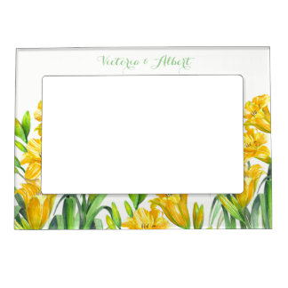 Custom Yellow Day Lillies Floral Illustration Magnetic Picture Frame