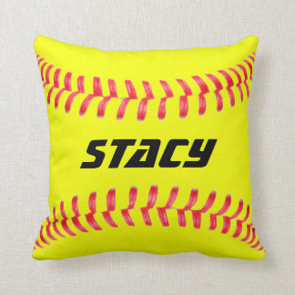 Custom Yellow Fastpitch Softball Throw Pillow