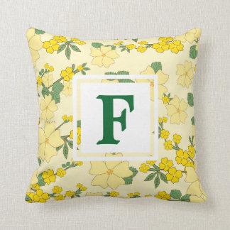 Custom Yellow Floral Pattern Monogram Pillow