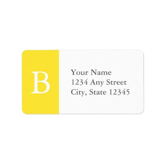 Custom Yellow & Grey Monogrammed Address Labels