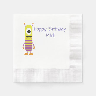 custom yellow monster happy birthday paper napkins