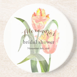 Custom Yellow Parrot Tulips Bridal Showers Coaster