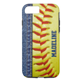 Custom Yellow Softball Red Stitch Pattern iPhone 8/7 Case