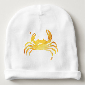 Custom yellow watercolour crab baby beanie