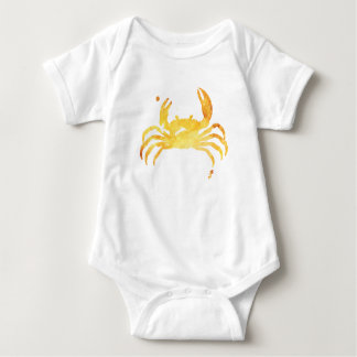 Custom yellow watercolour crab baby bodysuit