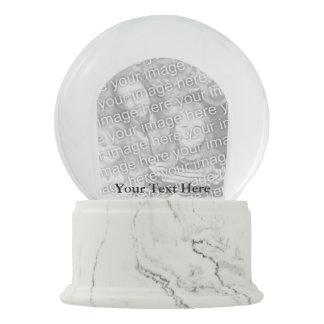 Custom Your Photo Snowglobe White Marble Finish