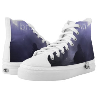 Custom zip high tops printed shoes