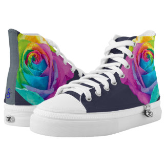 Custom Zipz High Top Shoes Multi Color Flower