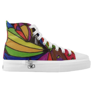 Custom Zipz High Top Shoes, US Women size 8 design Printed Shoes