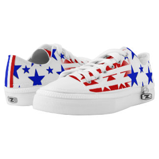 Custom Zipz red white blue Low Top Shoes Printed Shoes