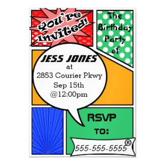 Custome Comic Book Party Invites