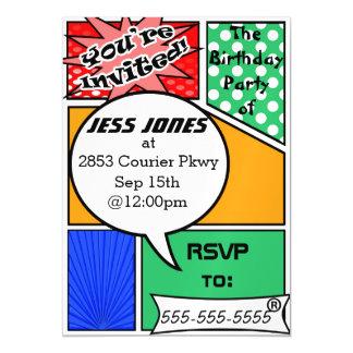 Custome Comic Book Party Invites Magnetic Invitations