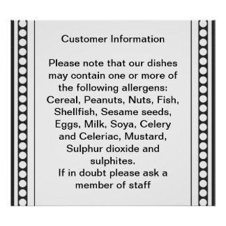 Customer Allergy Information Poster