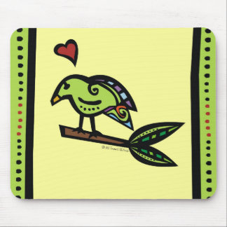 "CUSTOMER FAVORITE - ""POPPY"" THE LOVE BIRD GREEN MOUSE PAD"