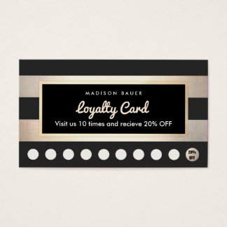 Customer Loyalty 10 Punch Gold and Black Stripes