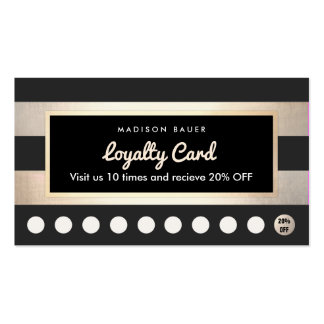 Customer Loyalty 10 Punch Gold and Black Stripes Pack Of Standard Business Cards