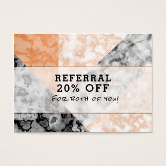 Customer Referral Pink Marble Collage Business Card
